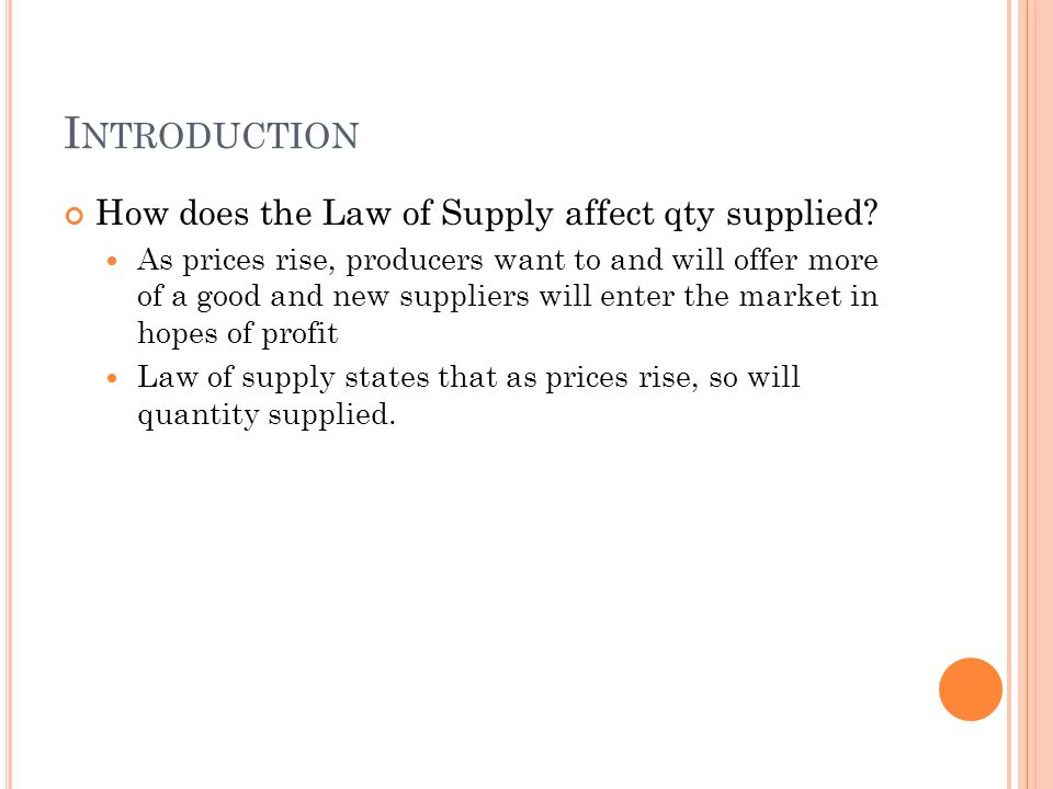 Introduction How does the Law of Supply affect qty supplied