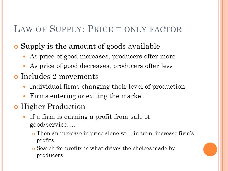 Law of Supply: Price = only factor