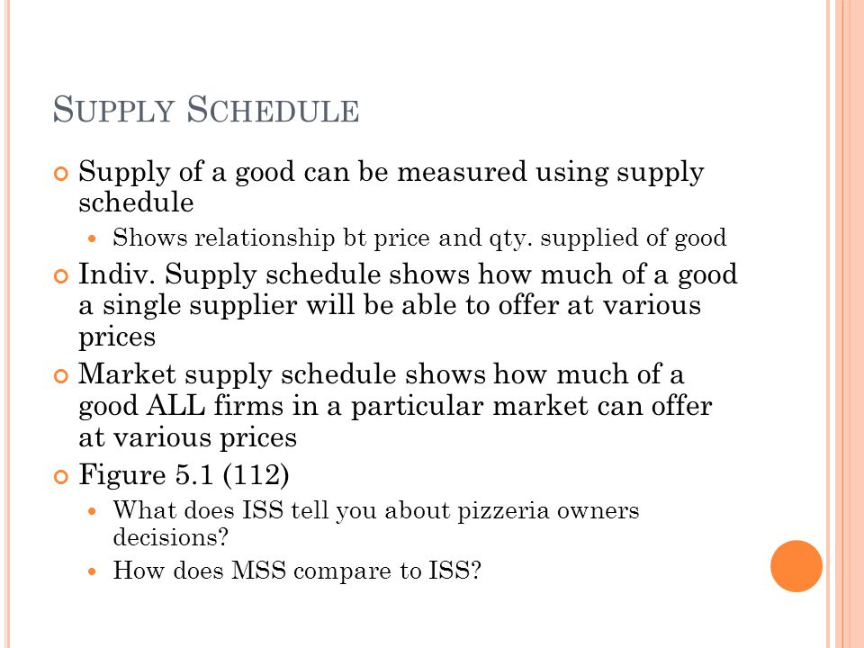 Supply Schedule Supply of a good can be measured using supply schedule
