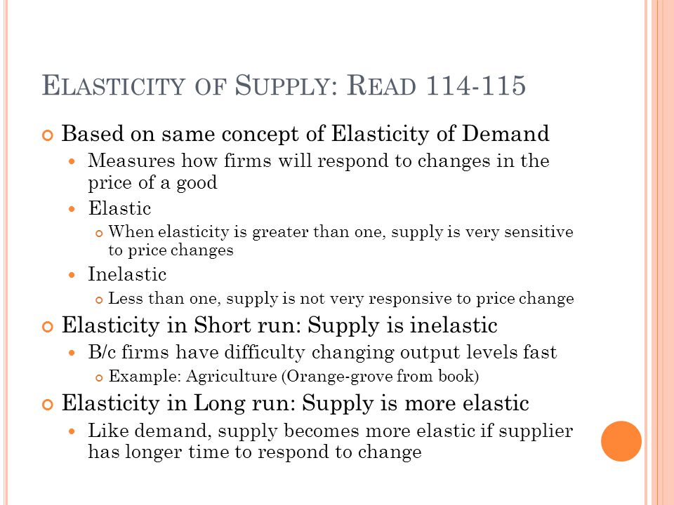 Elasticity of Supply: Read 114-115