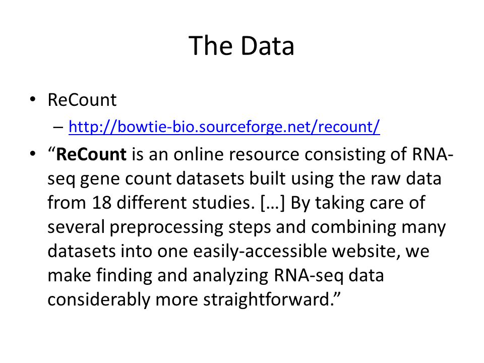 The Data ReCount. http://bowtie-bio.sourceforge.net/recount/