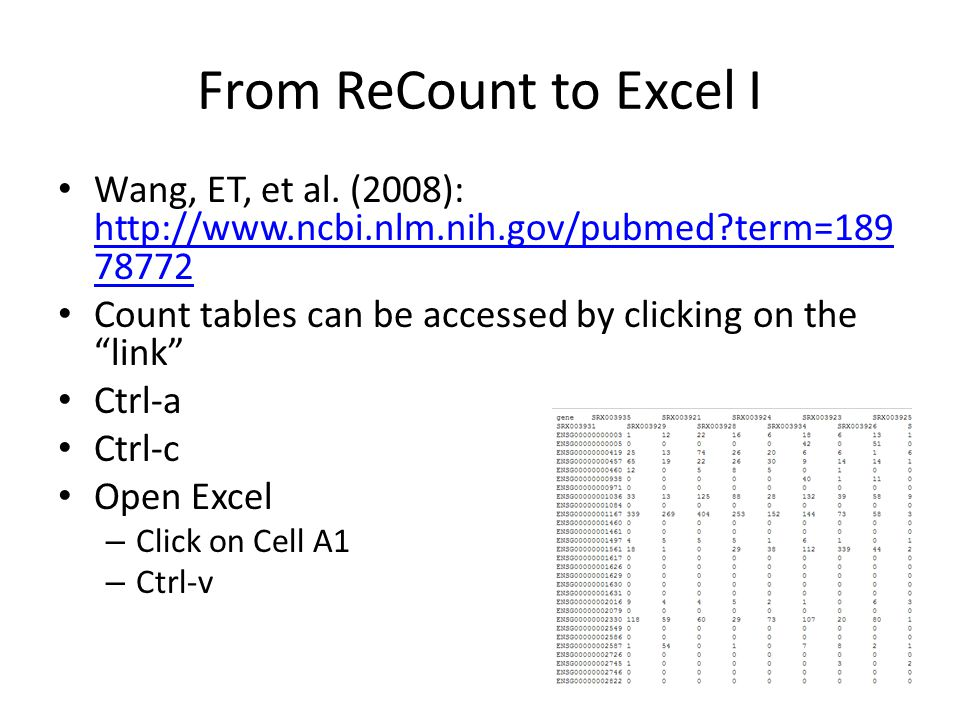 From ReCount to Excel I Wang, ET, et al. (2008): http://www.ncbi.nlm.nih.gov/pubmed term=18978772.