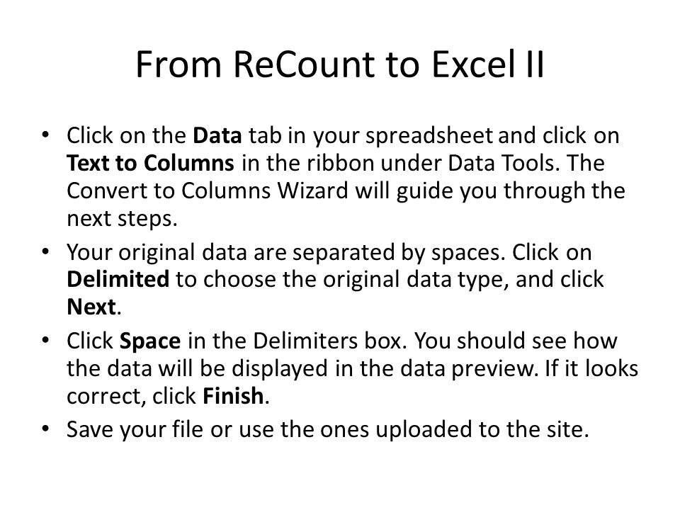 From ReCount to Excel II