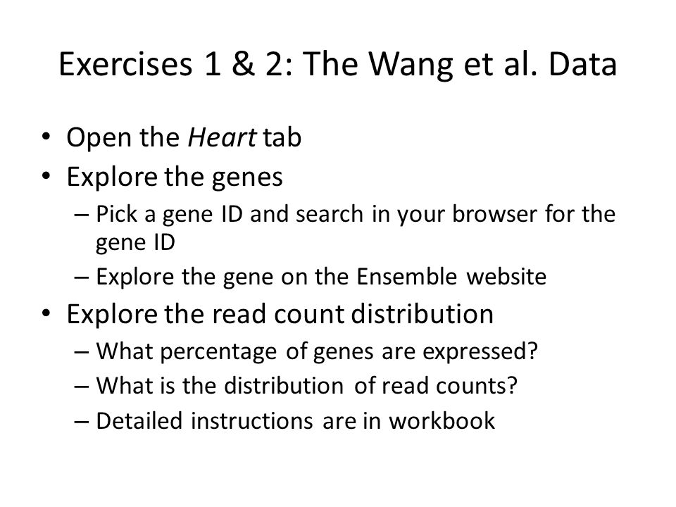 Exercises 1 & 2: The Wang et al. Data