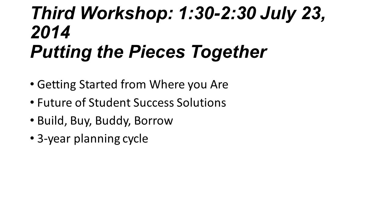 Third Workshop: 1:30-2:30 July 23, 2014 Putting the Pieces Together