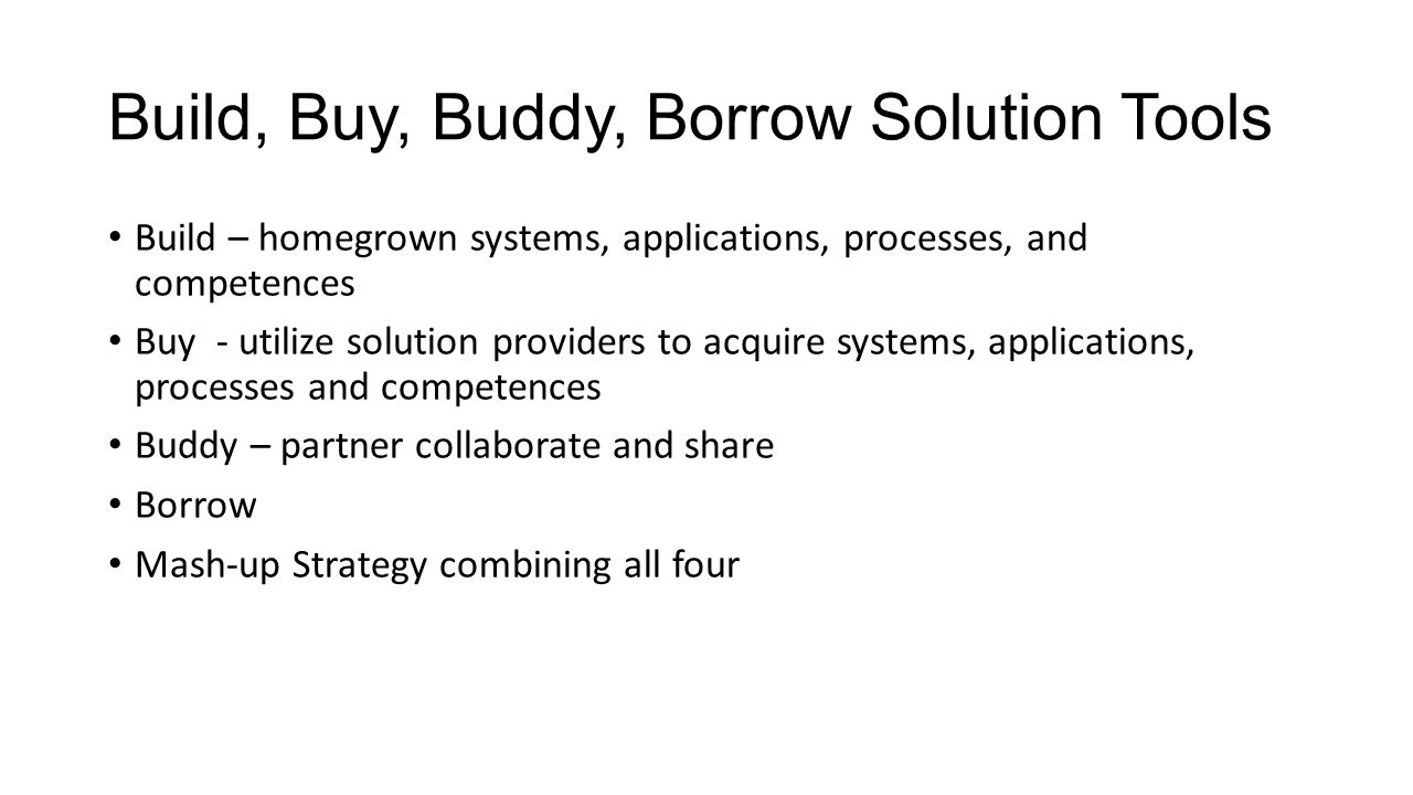 Build, Buy, Buddy, Borrow Solution Tools