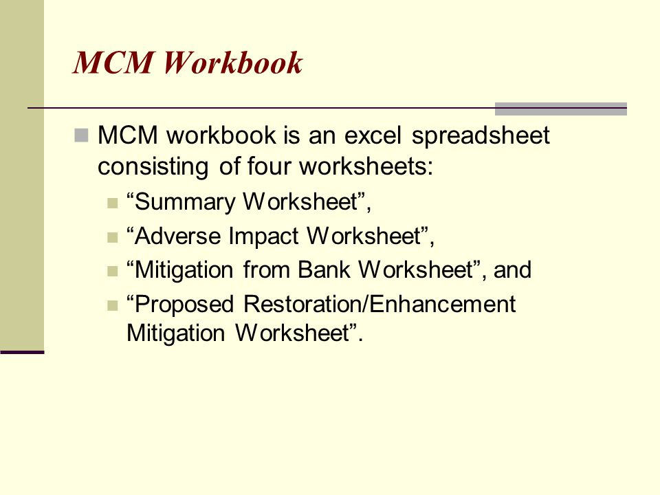 MCM Workbook MCM workbook is an excel spreadsheet consisting of four worksheets: Summary Worksheet ,