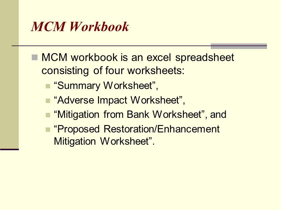 MCM Workbook MCM workbook is an excel spreadsheet consisting of four worksheets: Summary Worksheet ,