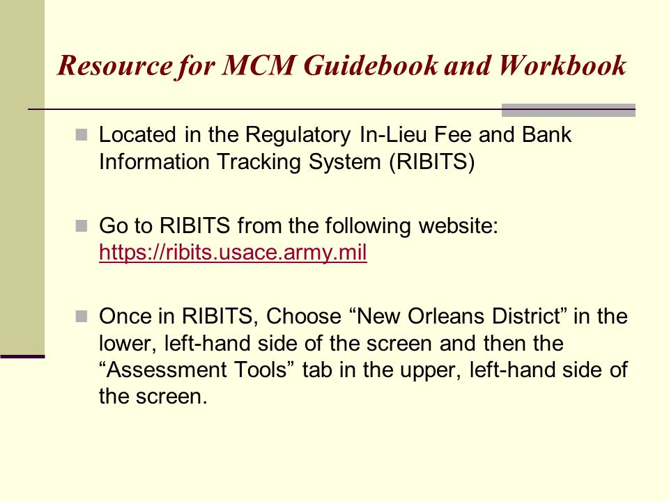 Resource for MCM Guidebook and Workbook