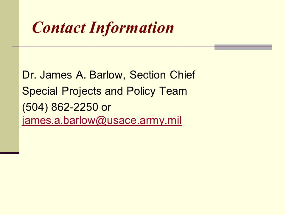 Contact Information Dr. James A.