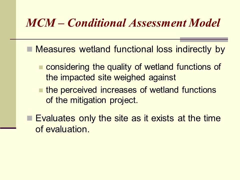 MCM – Conditional Assessment Model