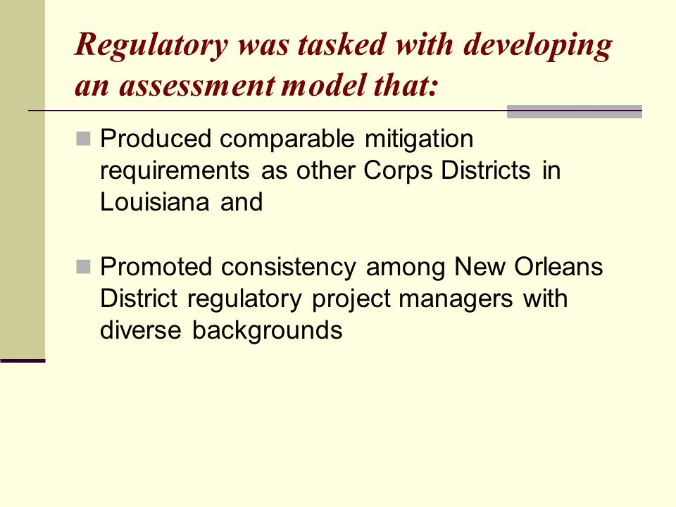 Regulatory was tasked with developing an assessment model that: