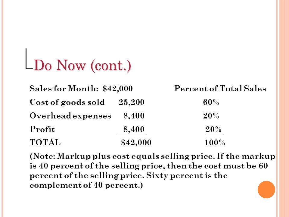 Do Now (cont.) Sales for Month: $42,000 Percent of Total Sales
