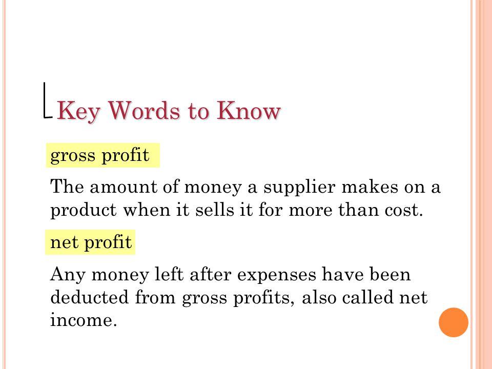 Key Words to Know gross profit