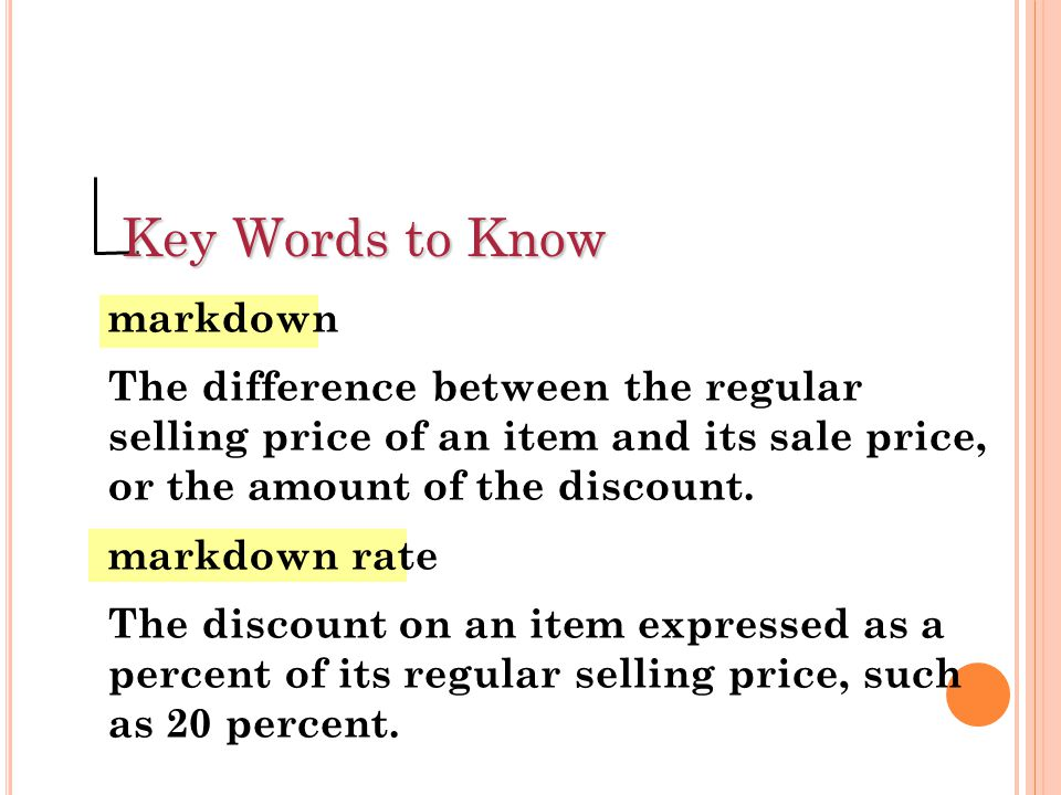 Key Words to Know markdown