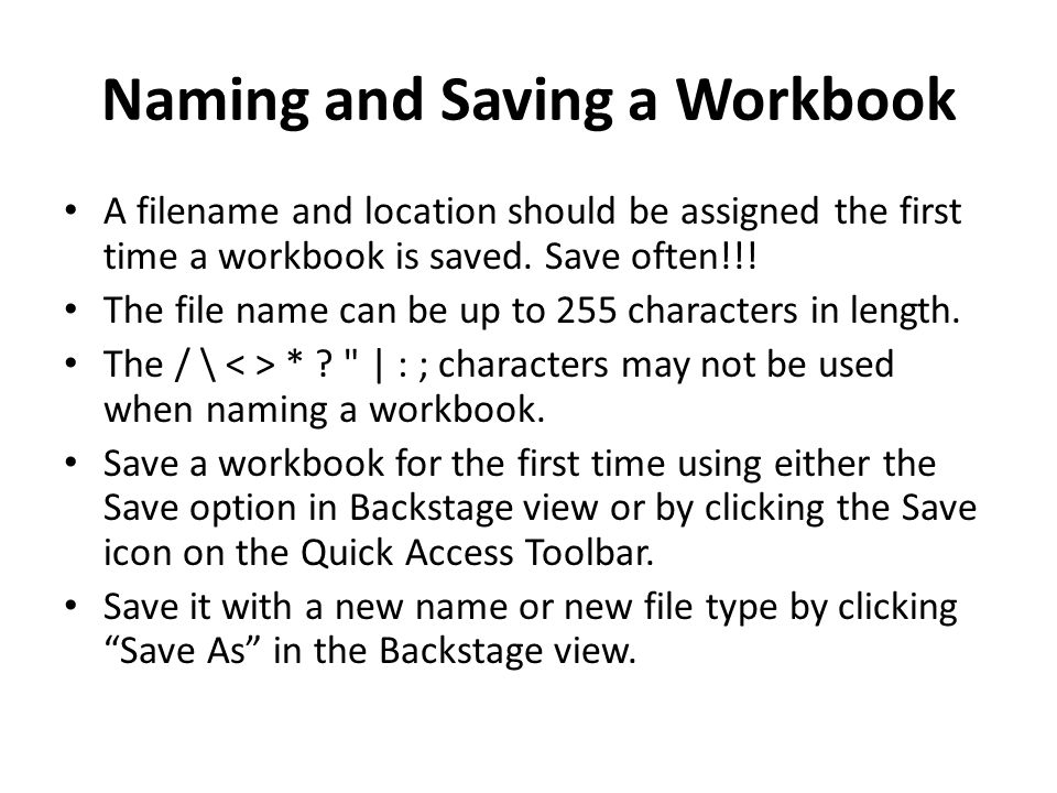 Naming and Saving a Workbook