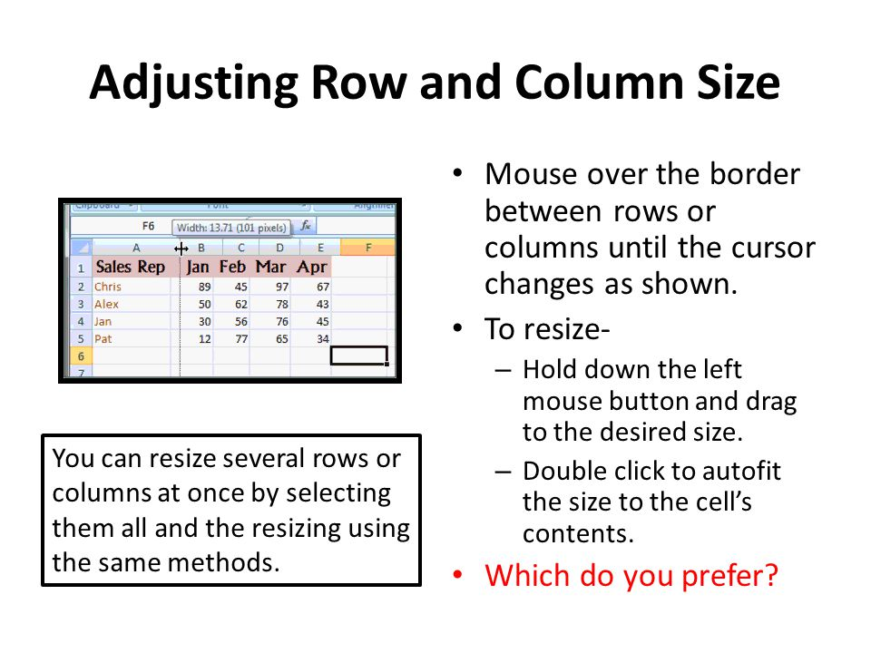 Adjusting Row and Column Size