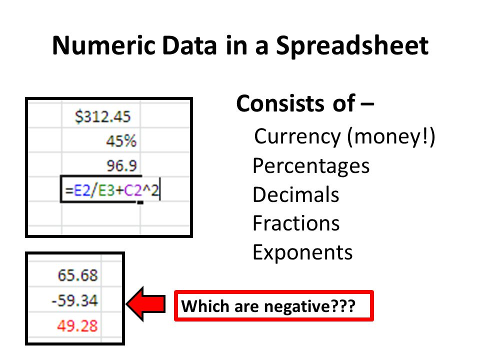 Numeric Data in a Spreadsheet