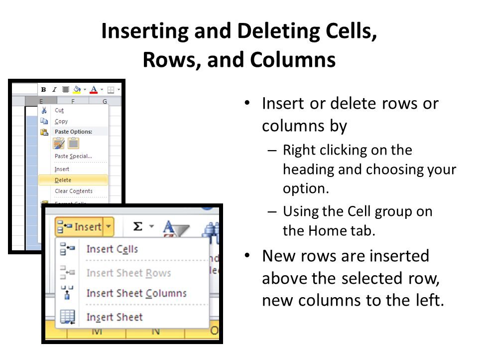 Inserting and Deleting Cells, Rows, and Columns