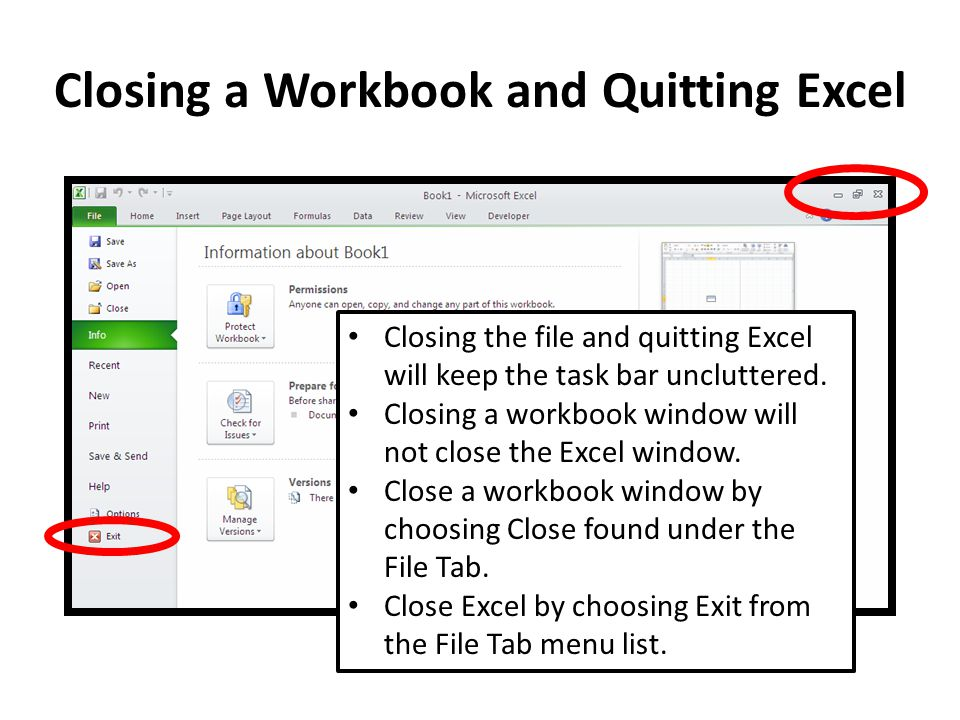 Closing a Workbook and Quitting Excel