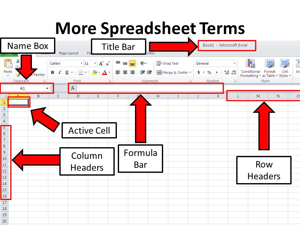 More Spreadsheet Terms