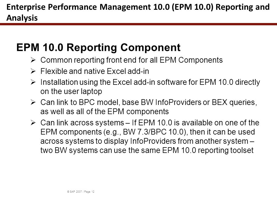 Main Features of the EPM Add-In