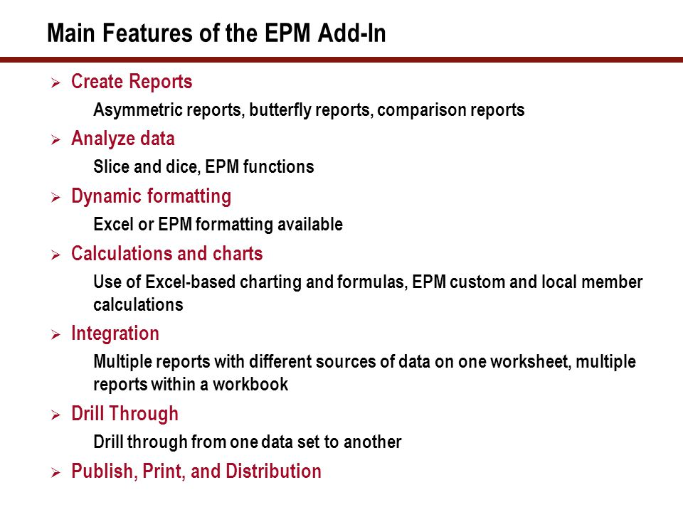 EPM 10.0 Reporting and Analysis