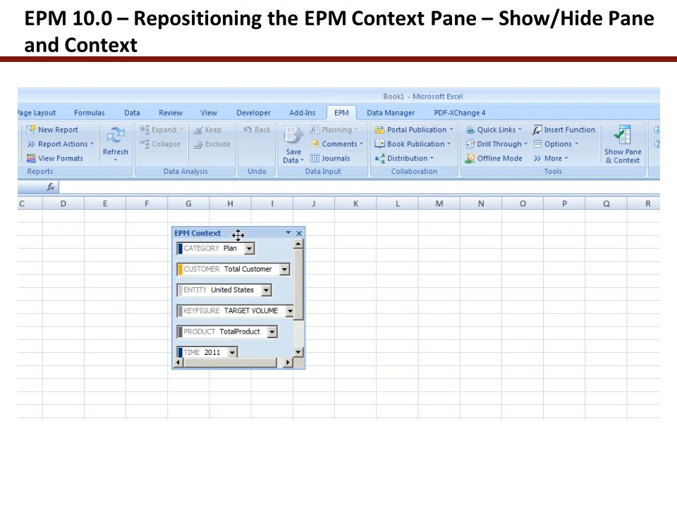 EPM 10.0 – Use of the Navigation Pane for Building a Report