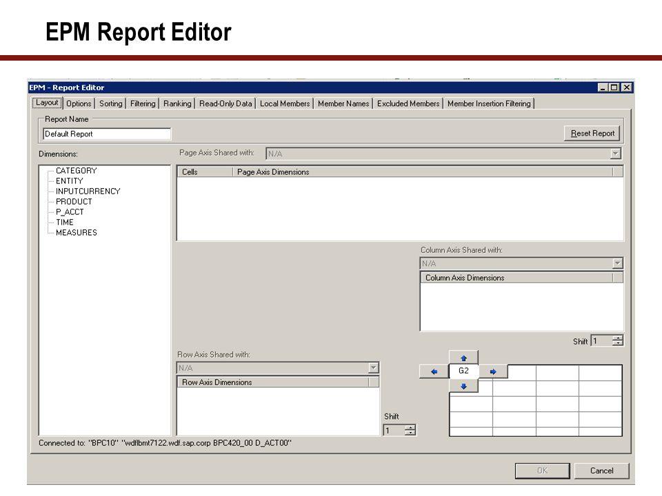 EPM Report Editor – Member Selector