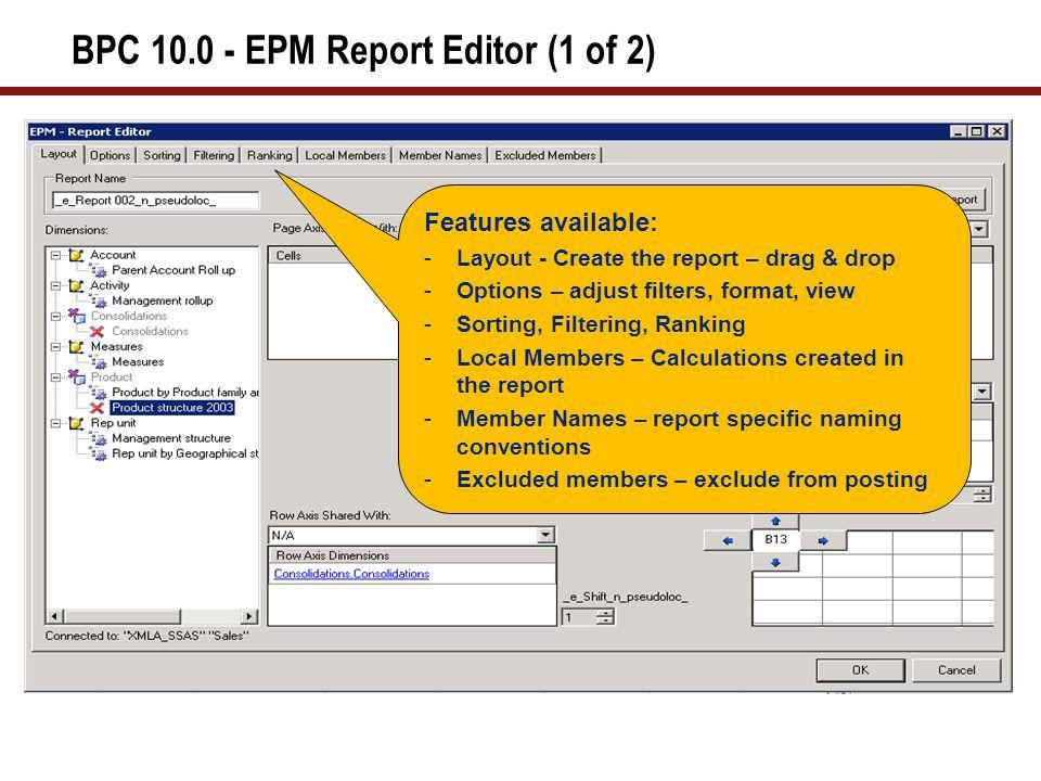 BPC 10.0 - EPM Report Editor (2 of 2)