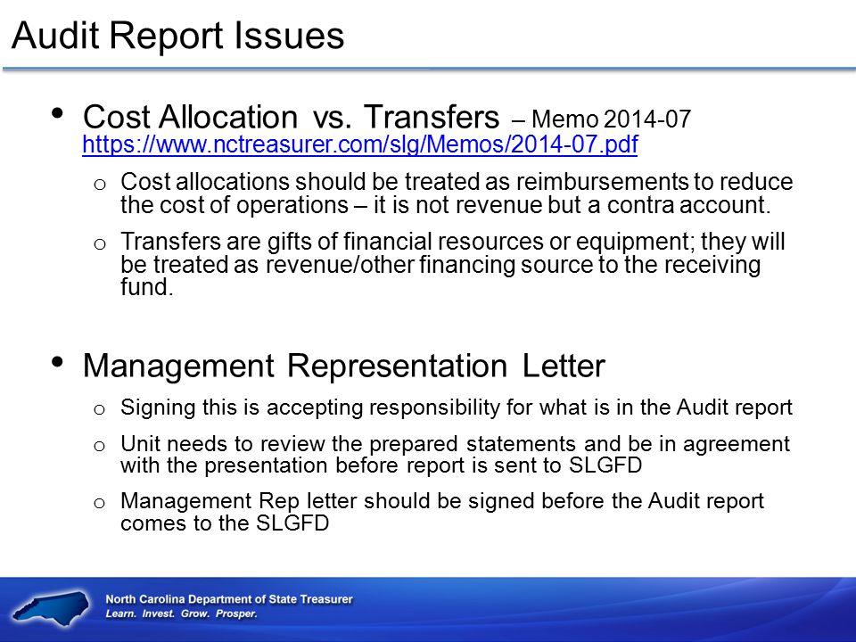 Audit Report Issues Cost Allocation vs. Transfers – Memo 2014-07 https://www.nctreasurer.com/slg/Memos/2014-07.pdf.