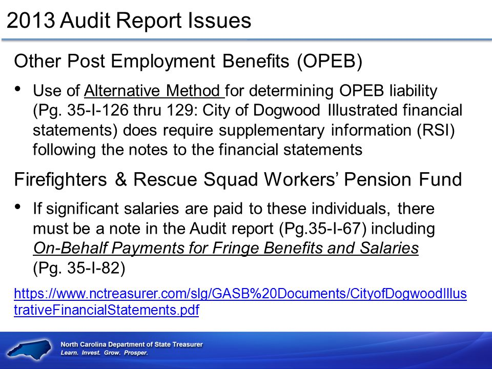 2013 Audit Report Issues Other Post Employment Benefits (OPEB)