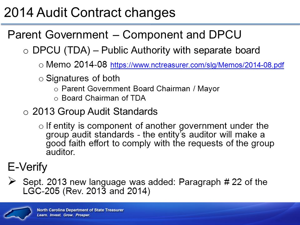 2014 Audit Contract changes