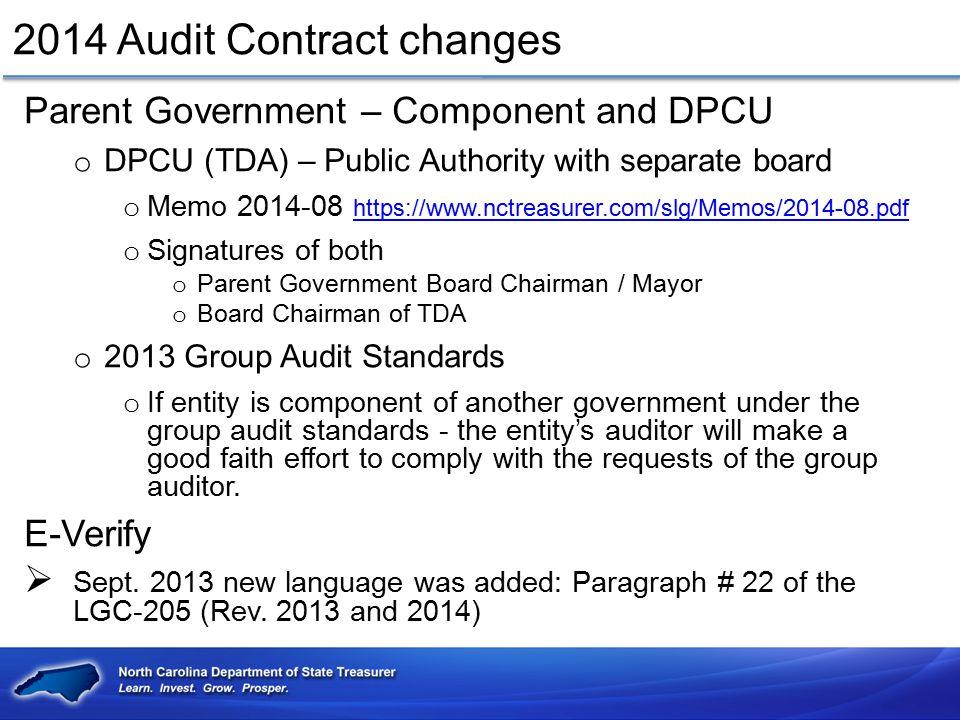 2014 Audit Contract changes