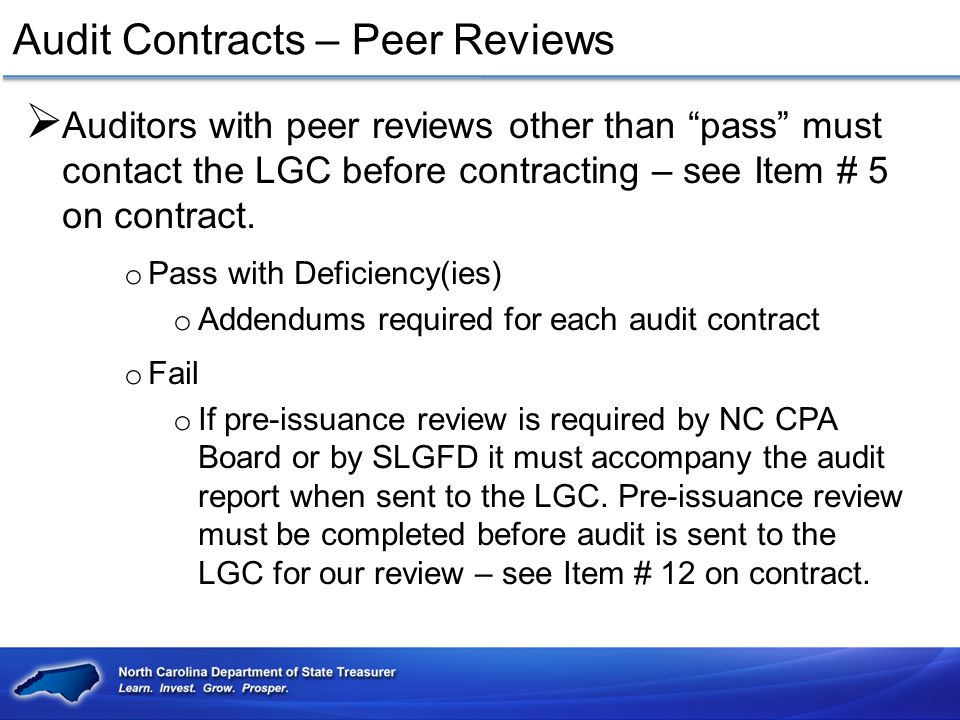 Audit Contracts – Peer Reviews