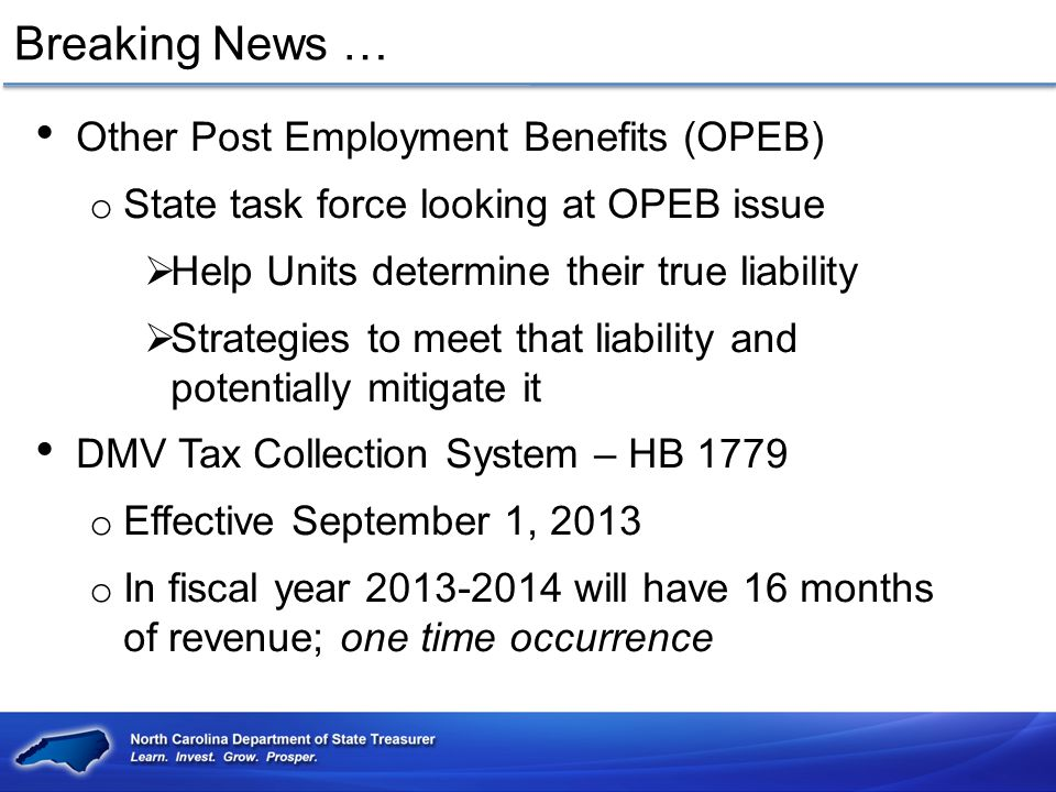 Breaking News … Other Post Employment Benefits (OPEB)