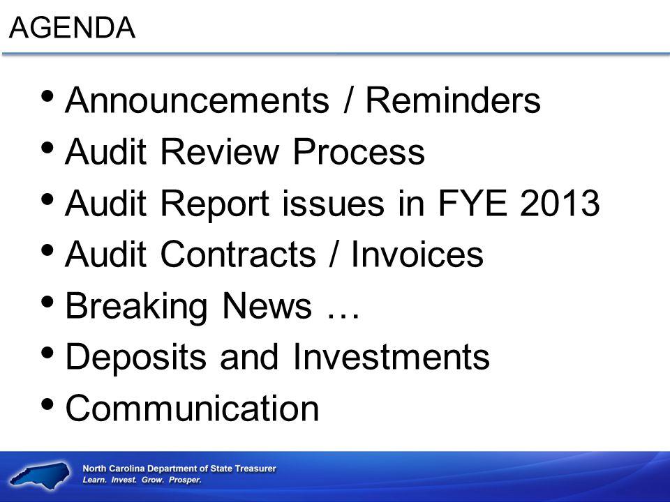 Announcements / Reminders Audit Review Process