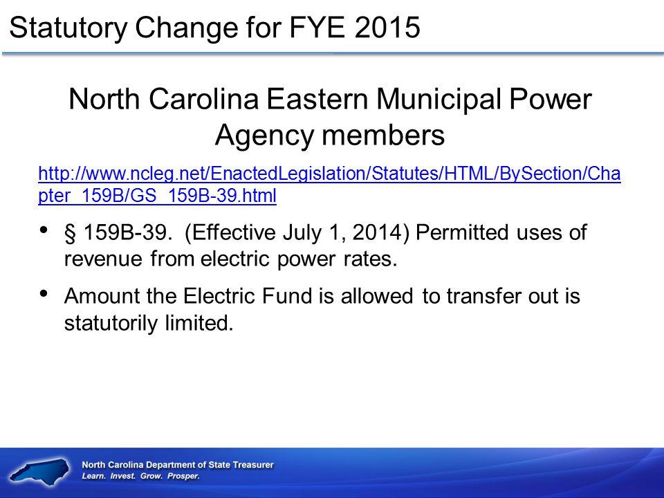 Statutory Change for FYE 2015