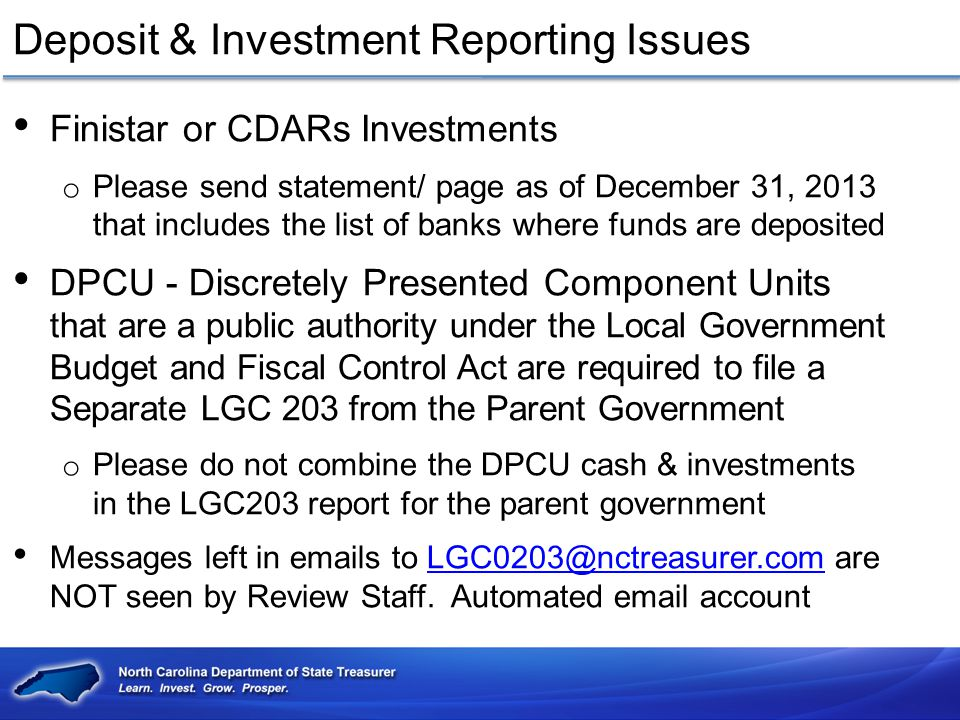 Deposit & Investment Reporting Issues
