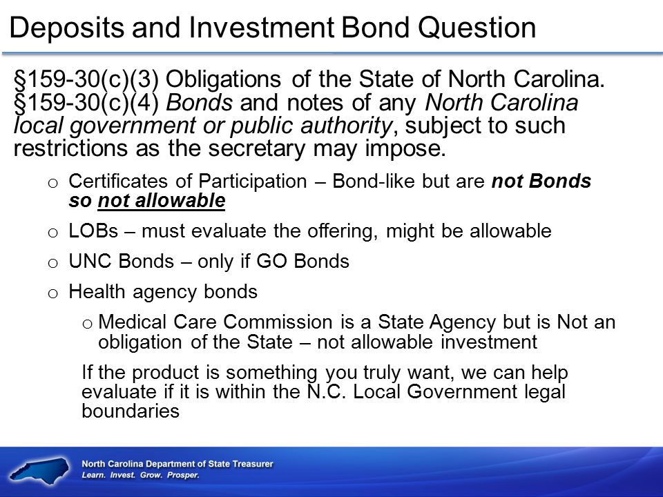 Deposits and Investment Bond Question