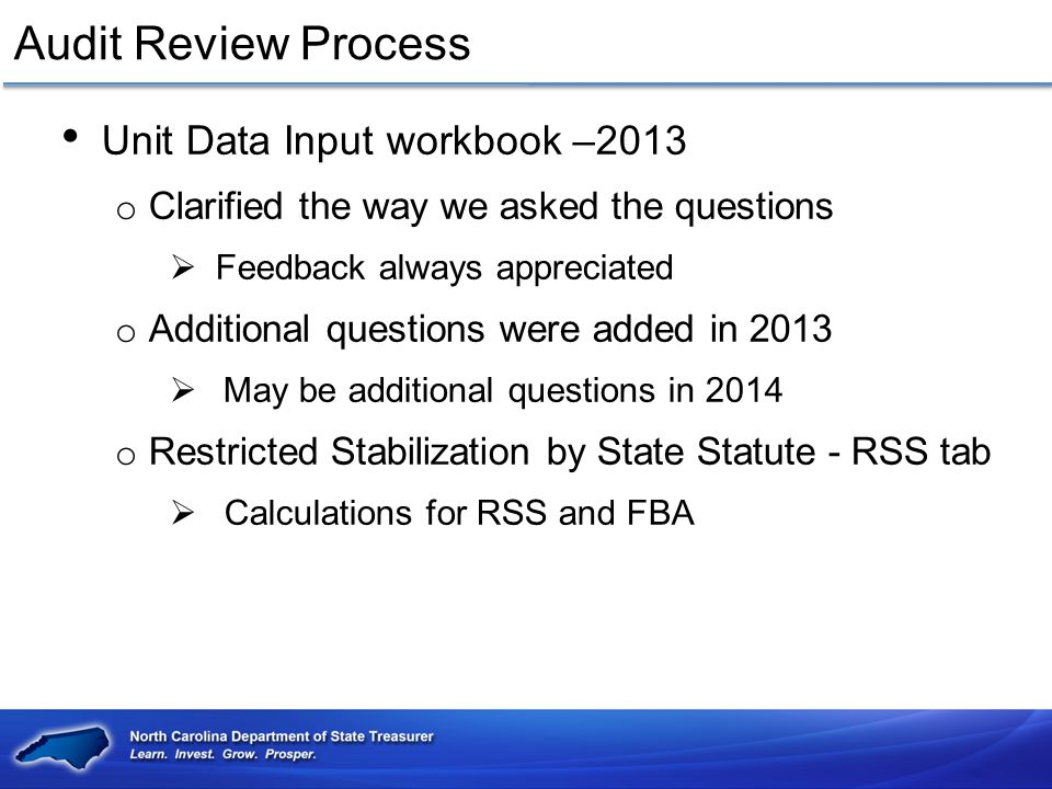 Audit Review Process Unit Data Input workbook –2013
