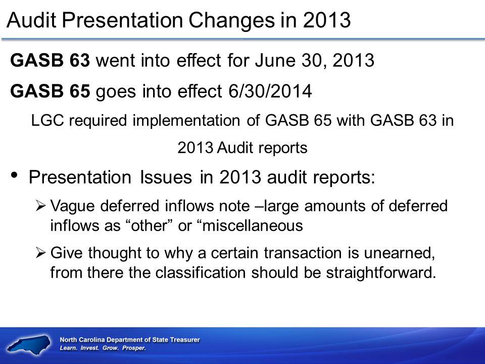 Audit Presentation Changes in 2013