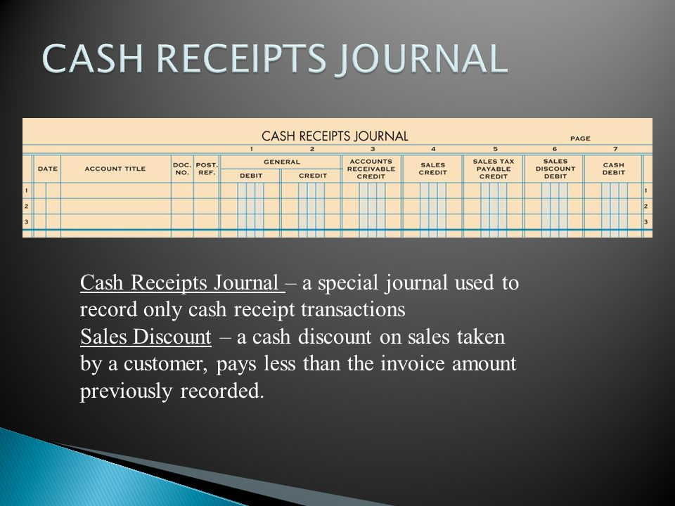 CASH RECEIPTS JOURNAL Cash Receipts Journal – a special journal used to record only cash receipt transactions.