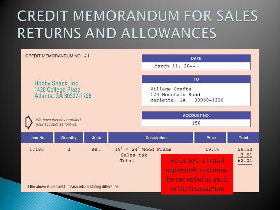 CREDIT MEMORANDUM FOR SALES RETURNS AND ALLOWANCES