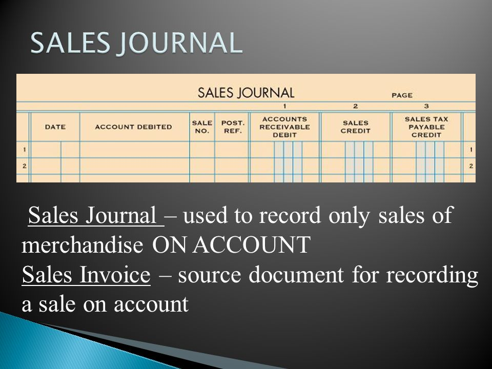 SALES JOURNAL Sales Journal – used to record only sales of merchandise ON ACCOUNT.
