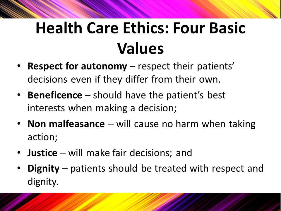 Health Care Ethics: Four Basic Values