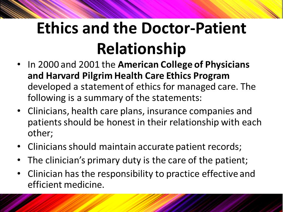 Ethics and the Doctor-Patient Relationship