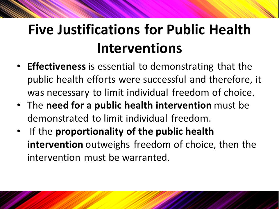 Five Justifications for Public Health Interventions