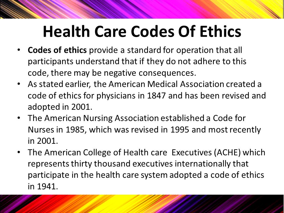 Health Care Codes Of Ethics