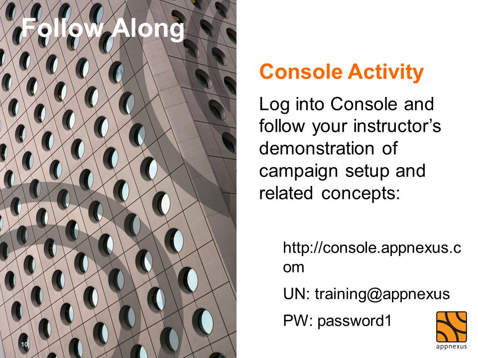 Follow Along Console Activity